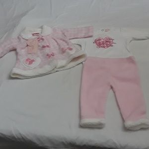 Nannette Kids, Pink Heart and Bow Pants set infant